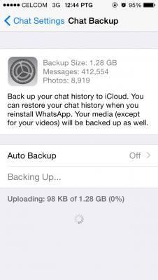 Whatsapp chat backup stuck
