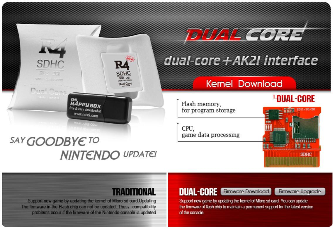 R4 Dual Core 2016 flashcard, Support Nintendo 3DS V11 2 & NDS V1 45