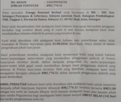 TNB demand RM3000 for changing my meter