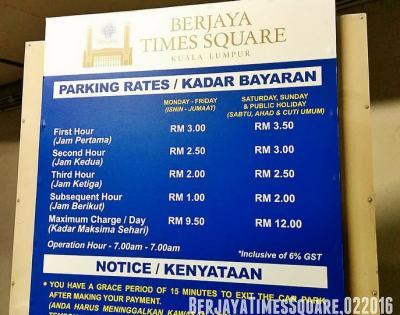 Berjaya Times Square Car Park Rate