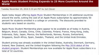apple music subscription cost india